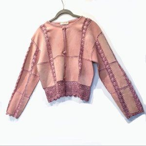 Vintage Boho Leather & Crochet Dusty Rose Jacket M